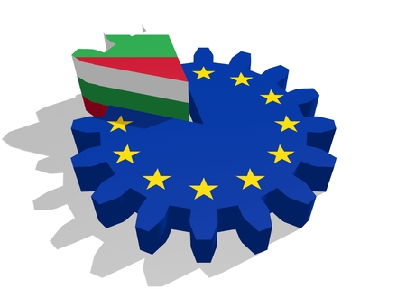 cog wheel: European union flag on gear and Bulgaria as part of cog wheel. 3D rendering Stock Photo
