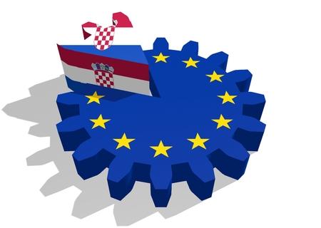 cog wheel: European union flag on gear and Croatia  as part of cog wheel. 3D rendering