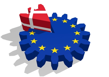 3d rendering wheel: European union flag on gear and Denmark as part of cog wheel. 3D rendering