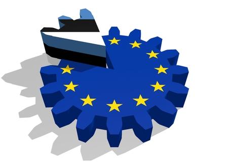 cog wheel: European union flag on gear and Estonia as part of cog wheel. 3D rendering