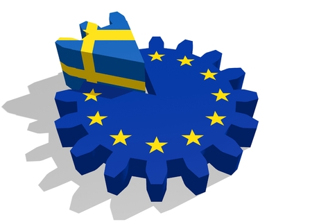 3d rendering wheel: European union flag on gear and Sweden as part of cog wheel. 3D rendering Stock Photo
