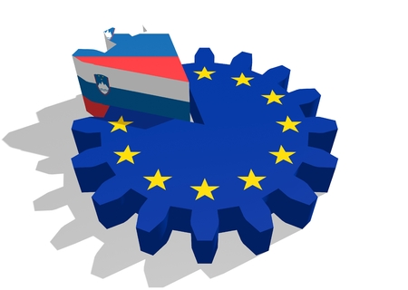 3d rendering wheel: European union flag on gear and Slovenia as part of cog wheel. 3D rendering