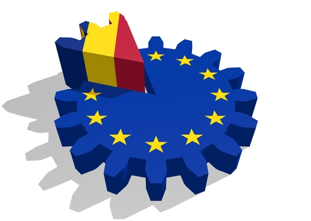 cog wheel: European union flag on gear and Romania as part of cog wheel. 3D rendering