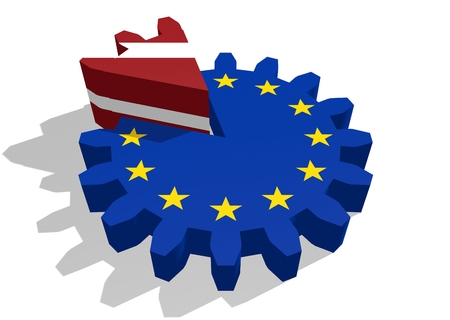 cog wheel: European union flag on gear and Latvia as part of cog wheel. 3D rendering
