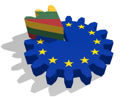 cog wheel: European union flag on gear and Lithuania  as part of cog wheel. 3D rendering