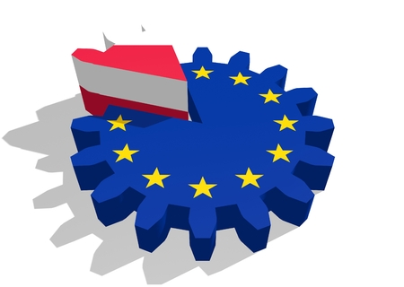 color separation: European union flag on gear and Poland as part of cog wheel. 3D rendering Stock Photo