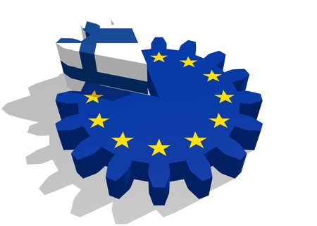 cog wheel: European union flag on gear and Finland as part of cog wheel. 3D rendering