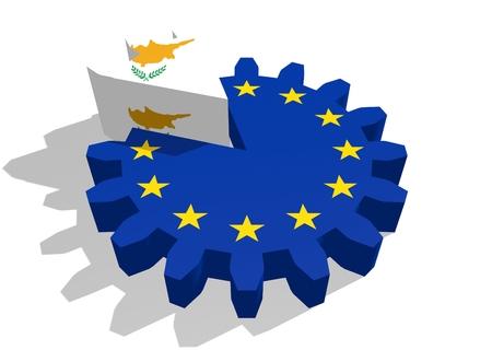 3d rendering wheel: European union flag on gear and Cyprus as part of cog wheel. 3D rendering