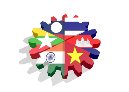 Cooperação Mekong Ganga. Bandeiras políticas e econômicas dos membros da união na roda da roda denteada. Trabalho em equipe global. Renderização 3D