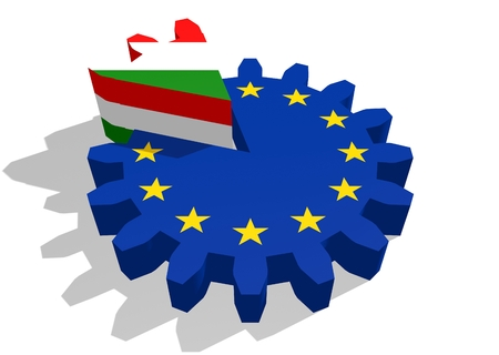 cog wheel: European union flag on gear and Hungary as part of cog wheel. 3D rendering