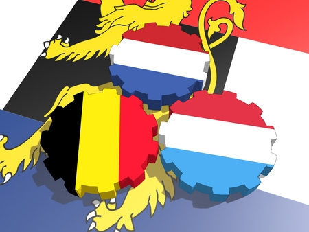 politic: Benelux politic and economic union members flags on cog wheels. 3D rendering. Stock Photo