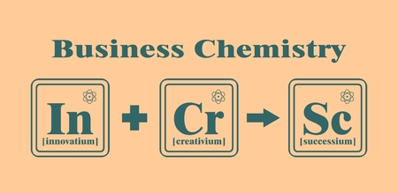 fictional: Business model metaphor. Fictional chemical elements in reaction. Business chemistry