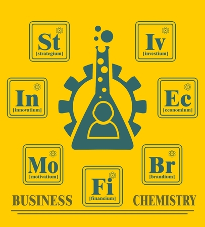 metaphor: Business model metaphor. Fictional chemical elements around gear and businessman icon. Business chemistry