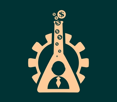vapour: Business model metaphor. Gear and business icon in laboratory glass. Business chemistry. Dollar sign vapour Illustration