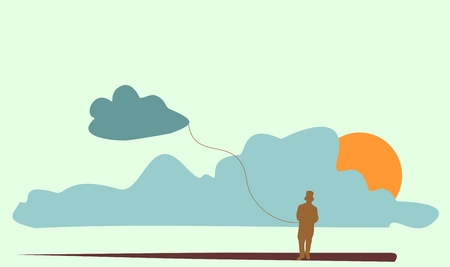 gallant: Silhouette of a gentleman in a top hat. Man holding cloud. Cloud storage metaphor Illustration