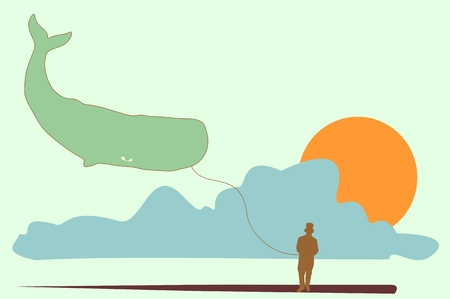 gallant: Silhouette of a gentleman in a top hat. Man holding whale asballoon.