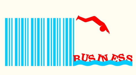 up code: red man silhouette diving from bar code springboard into business ocean. start up relative image Illustration