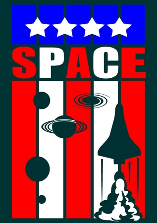 booster: Space craft launch on striped backdrop. Space word, planet and stars silhouettes  on bands