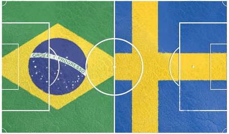 qualification: Flags of countries participating to the football tournament. Football field textured by Sweden and Brazil national flags. 3D rendering Stock Photo