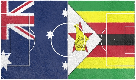 Flags of countries participating to the football tournament. Football field textured by australia and Zimbabwe national flags. 3D rendering