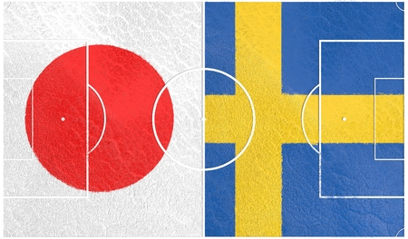 qualification: Flags of countries participating to the football tournament. Football field textured by Sweden and Japan national flags. 3D rendering