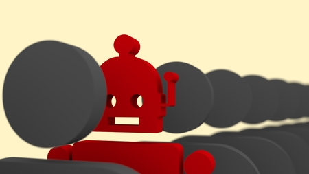 divergence: Special standing out from the crowd. Human and robot differences. 3D rendering Stock Photo