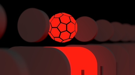 Special standing out from the crowd. Human and football fan differences. 3D rendering