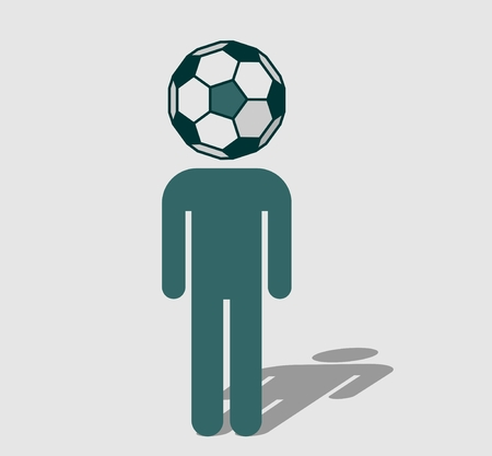 divergence: Human icon with ball instead head. Soccer fan metaphor
