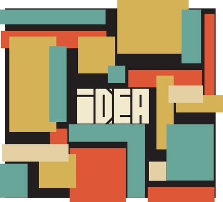 edges: Idea word typography background. Sharp edges font. Square shapes.