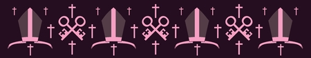 mitre: Bishop mitre and crosses. Vector illustration. Catholic symbols