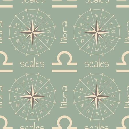 fate: Astrology sign Scales. Seamless background. Vector illustration
