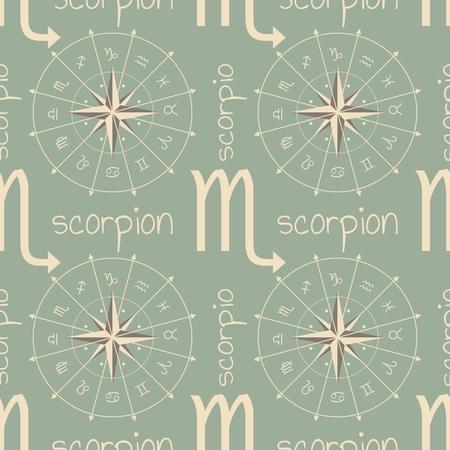 augury: Astrology sign Scorpion. Seamless background. Vector illustration