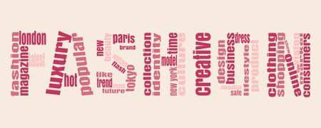 sales trend: Fashion word consist of relative words. Keywords Cloud.