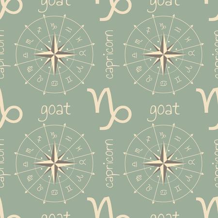 astrologer: Astrology sign Goat. Seamless background. Vector illustration