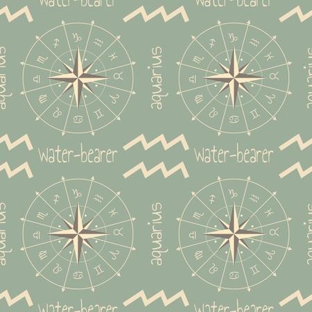 water bearer: Astrology sign Water bearer. Seamless background. Vector illustration