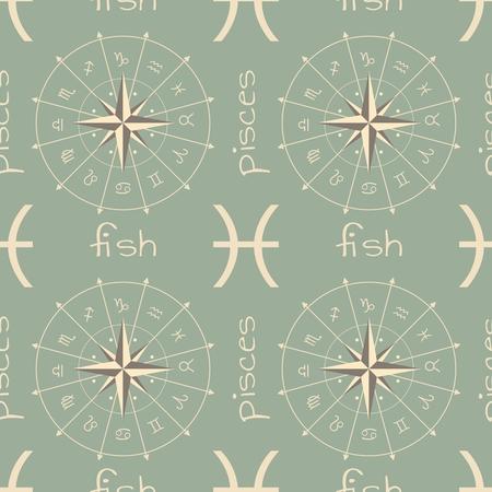 doom: Astrology sign Fish. Seamless background. Vector illustration Illustration