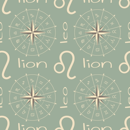 augury: Astrology sign Lion. Seamless background. Vector illustration