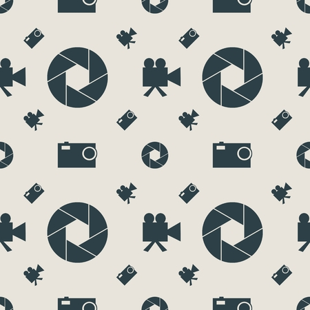 aperture: Photo and video camera flat icons. Vector illustration. Seamless background. Aperture icon