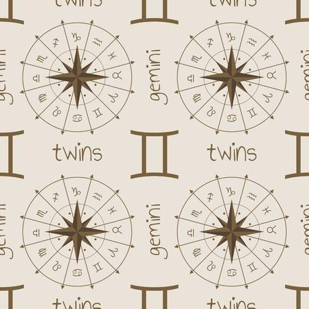 astrologer: Astrology sign Twins. Seamless background. Vector illustration Illustration