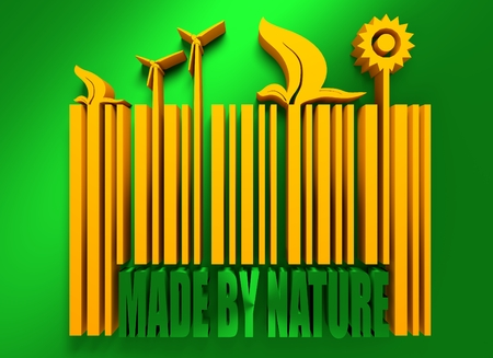 bio fuel: Type of renewable energy info graphics background. There are solar, wind, bio fuel energy for layout, banner, web design, statistic, brochure template. . Made by nature on bar code. 3D rendering