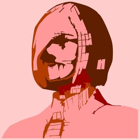 woman tie: Zombie business woman portrait. Vector illustration in pop art style. Suit and tie Illustration