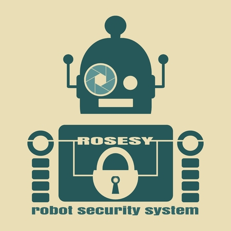 security company: Funny security robot . ROSESY robot security system text. Robotics industry relative image. Aperture eye. Business company emblem