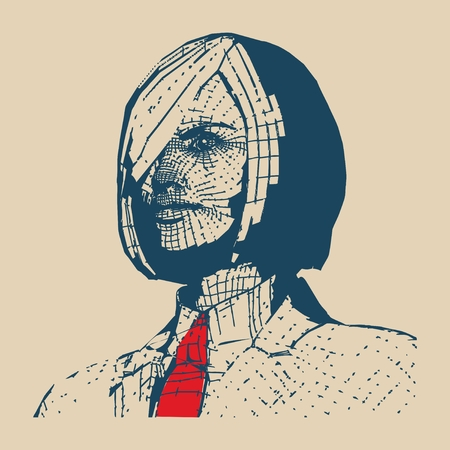 woman tie: Business woman portrait. Vector illustration in pop art style. Suit and tie