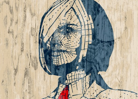woman tie: Business woman portrait. Illustration in pop art style. Suit and tie. Wood textured background
