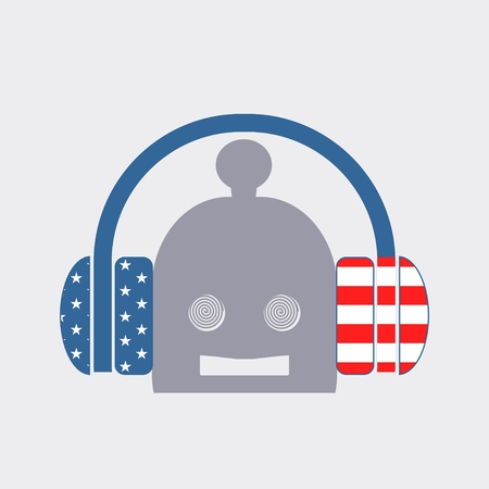robot head: Silhouettes of headphones and robot head. Hypnotic eyes Illustration