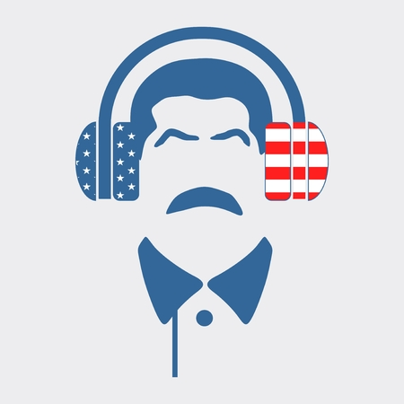 portable audio: Silhouettes of the mustache man wearing a headphones. Textured by USA flag