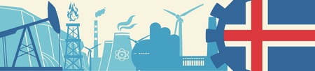 iceland flag: Energy and Power icons set. Header banner with Iceland flag. Sustainable energy generation and heavy industry. Vector illustration