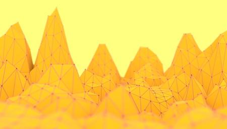 Low poly mountains landscape. Polygonal shapes peaks. 3d illustration. Polygonal mosaic background