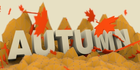 Low poly mountains landscape. 3d illustration. Polygonal mosaic background. Autumn word and maple leafs