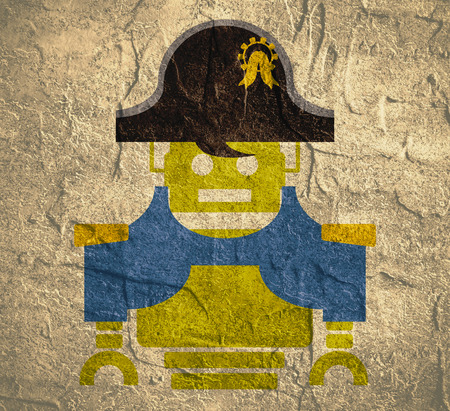 bonaparte: Cute vintage robot. Robotics industry relative image. Napoleon Bonaparte cartoon character. Grunge concrete textured backdrop